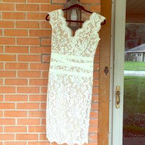 Tadashi Shoji white lace dress